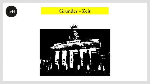 Das frühklassizistische Brandenburger Tor als Emblem der späteren Gründerzeit ironisch versehen mit einem Bild der heutigen Gründer Ikone Oliver Samwer