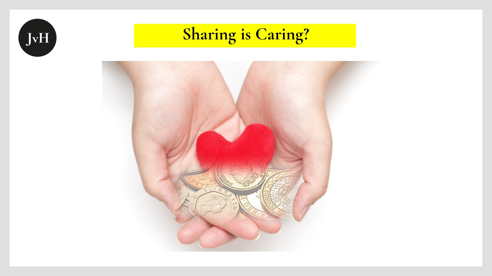 Picture depicting two open hands with a heart lying in them which is covered by coins