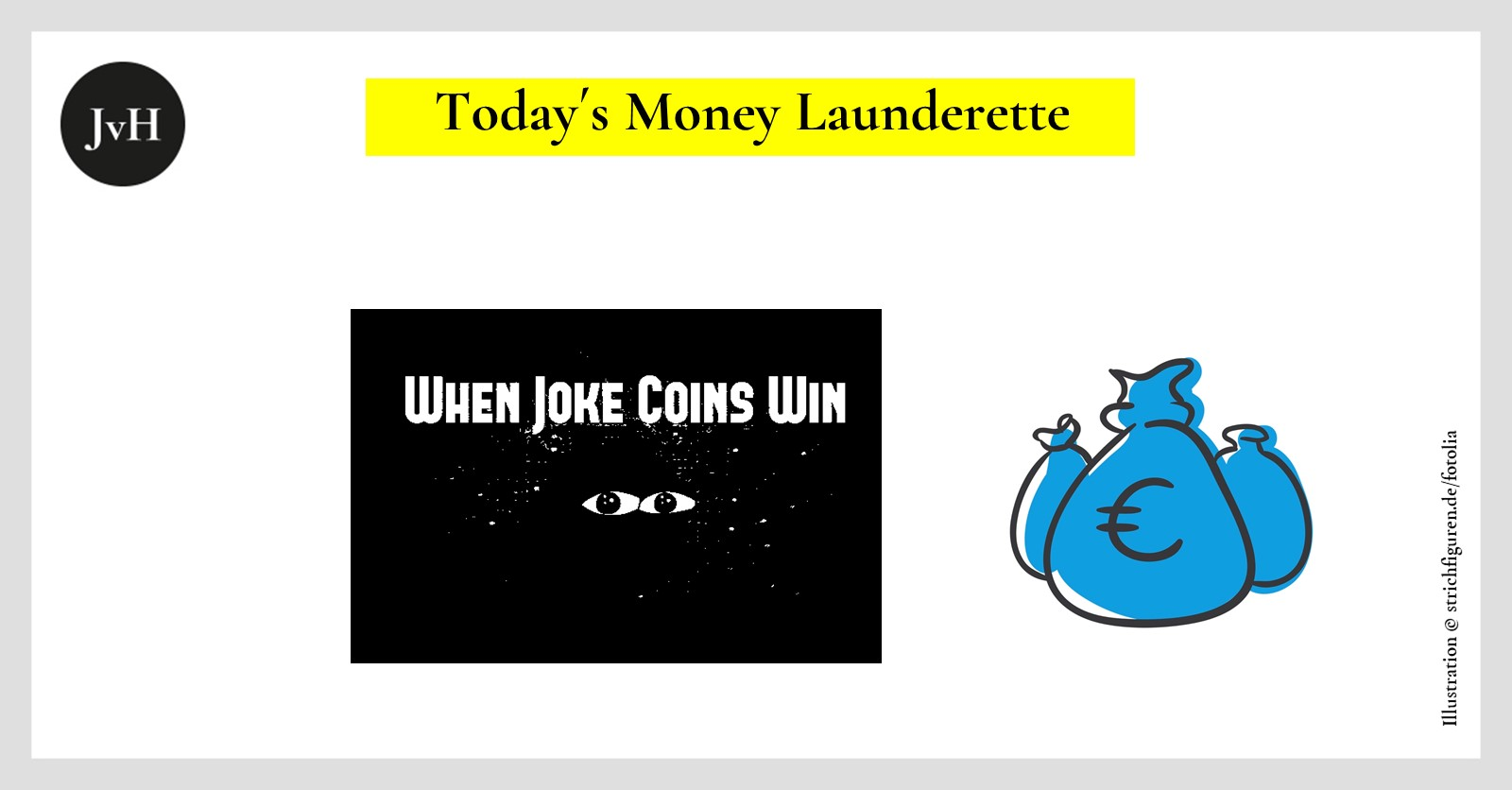 Picture showing a black frog and tited: When Joke Coins Win